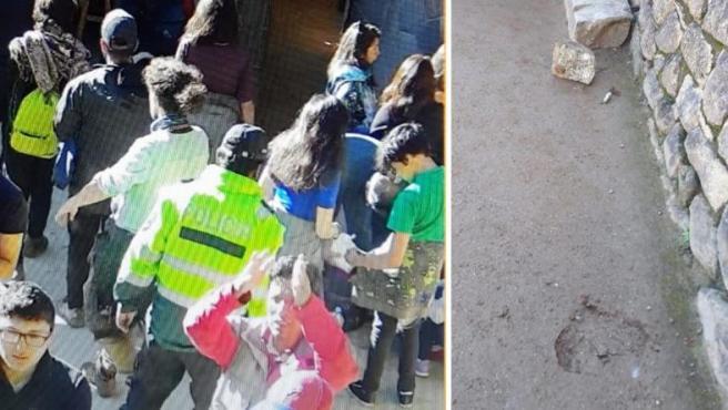 Imágenes de los turistas que ingresaron ilegalmente en Machu Picchu, causando daños a la arquitectura del Templo.