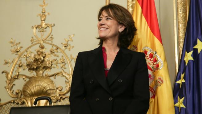 L'exministra de Justícia i futura Fiscal General de l'Estat, Dolores Delgado, durant l'acte de presa de possessió de ministres en el Ministeri de Justícia en el Palau de Parcent, Madrid (Espanya), a 13 de gener de 2020.