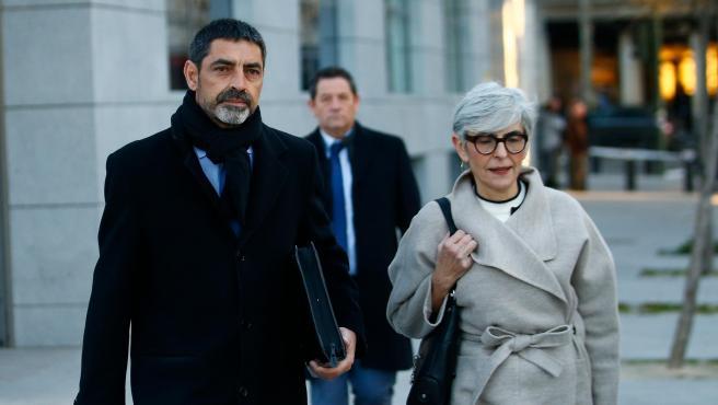 Trapero llega a la Audiencia Nacional acompañado de su abogada Olga Tubau.