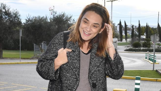 La presentadora Toñi Moreno, llegando al hospital para dar a luz a su hija.
