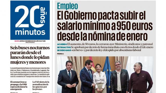 Portada edición 20minutos Madrid