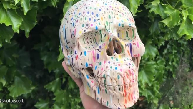 Escultura del cráneo humano hecho a base de lápices
