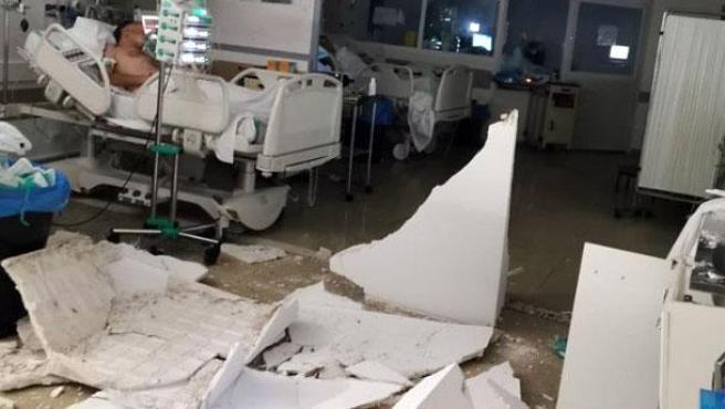 Escombros en la UCI del Hospital Virgen de la Luz de Cuenca.
