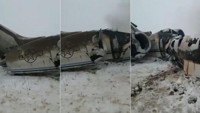 Varias imágenes del avión estadounidense derribado en Afganistán.