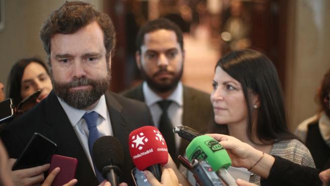 Espinosa de los Monteros este martes a su llegada a la Junta de Portavoces en el Congreso.