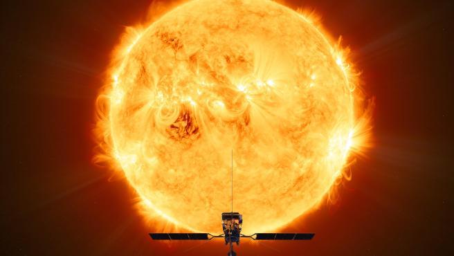 Recreación de la Solar Orbiter en su aproximación al Sol.