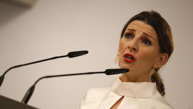 La ministra de Trabajo, Yolanda Díaz, en rueda de prensa.