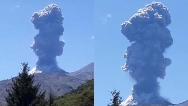 El volcán Chillán durante la pulsión eruptiva.