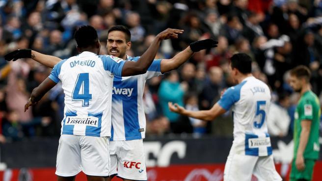 Jugadores del Leganés, celebrando un gol.