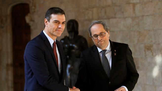 El presidente catalán, Quim Torra, y el presidente del Gobierno, Pedro Sánchez.