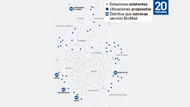 Mapa de estaciones de Bicimad