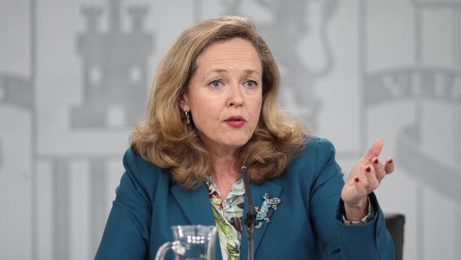 Nadia Calviño durante la rueda de prensa tras el Consejo de Ministros en Moncloa.