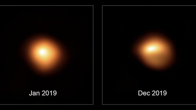 Dos imágenes que muestran el oscurecimiento de la estrella Betelgeuse, en la constelación de Orión.