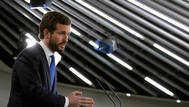 Pablo Casado, durante la rueda de prensa.