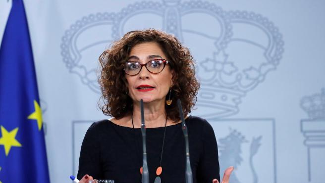 La ministra Montero, en rueda de prensa.