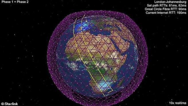 Así se vería la Tierra con los satélites Starlink a su alrededor.