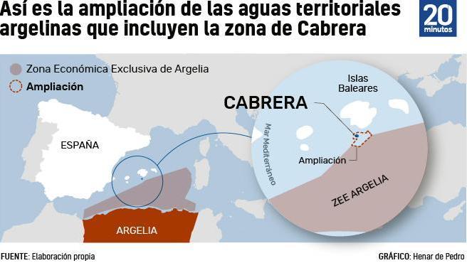 Mapa de la ampliación de la Zona Económica Exclusiva de Argelia.