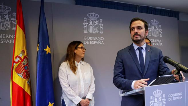 El ministro de Consumo, Alberto Garzón, compareciendo este viernes.