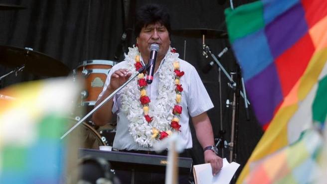 El expresidente de Bolivia, Evo Morales, durante un discurso en Buenos Aires (Argentina).