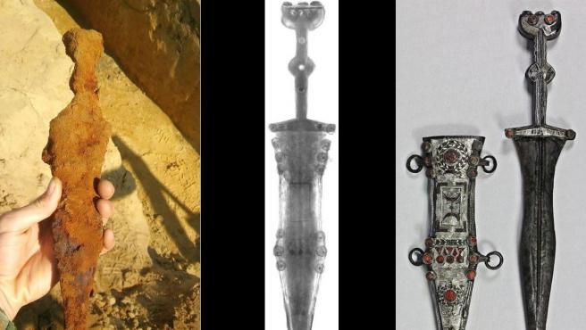 Imágenes del antes, el durante y el después de la restauración de una daga romana hallada en Alemania.