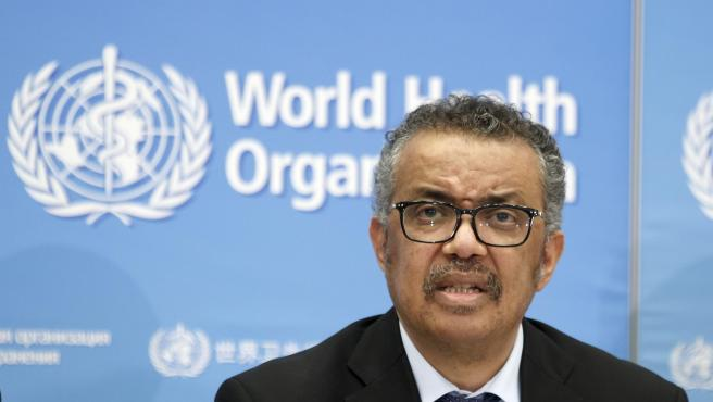 El director general de la OMS, Tedros Adhanom Ghebreyesus, en rueda de prensa.