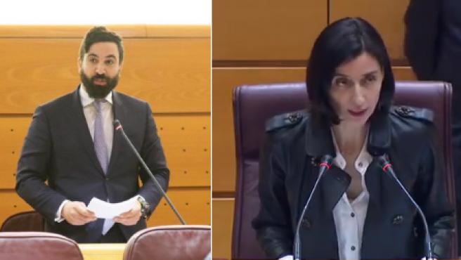 El senador de Vox Jacobo Robatto y la presidenta del Senado Pilar Llop.