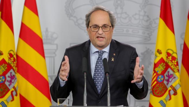 El president de la Generalitat, Quim Torra, en la rueda de prensa tras la primera reunión de la mesa de diálogo entre el Gobierno de España y el Govern de Catalunya.