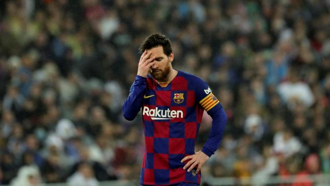 Messi, durante el Real Madrid - FC Barcelona.