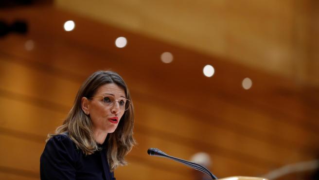 La ministra de Trabajo, Yolanda Díaz, durante la sesión de control.