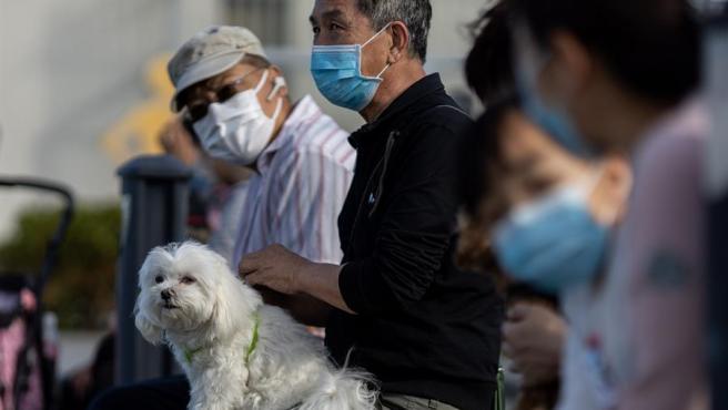 Varias personas, una de ellas con su perro, protegidas con mascarillas debido al brote del coronavirus COVID-19, en un parque de Hong Kong, China.