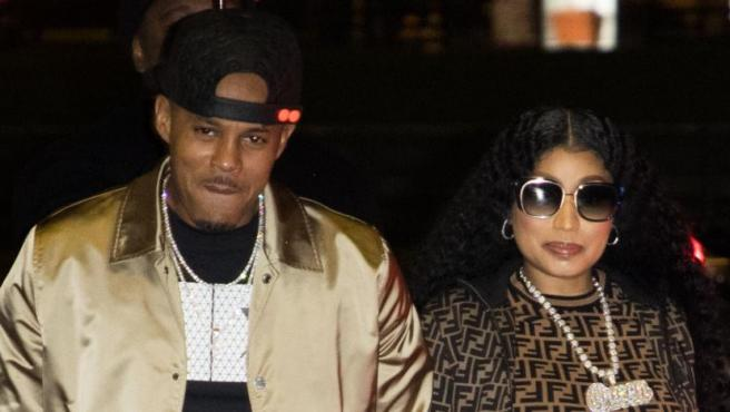"""La cantante Nicki Minaj y Kenneth """"Zoo"""" Petty en París en marzo de 2019."""