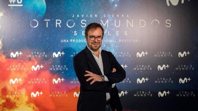 Javier Sierra, durante la presentación de una nueva temporada de 'Otros Mundos', en Movistar+.