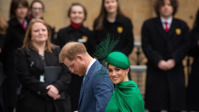 Meghan y Enrique este lunes en Westminster, Londres.