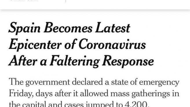 Artículo crítico del 'The New York Times' contra la gestión del Gobierno de España.