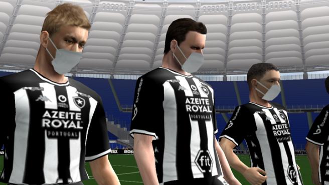 Jugadores con mascarilla en la última actualización del 'PES' oficioso, que se juega en Brasil.