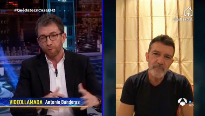 Videoconferencia con Antonio Banderas, en 'El hormiguero: Quédate en casa'.