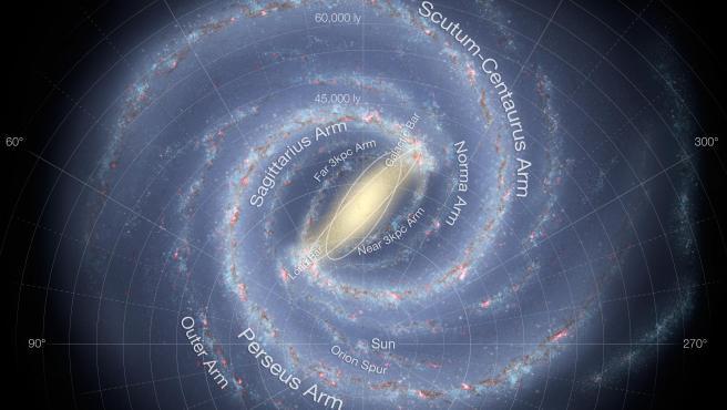 Mapa de la galaxia Vía Láctea.