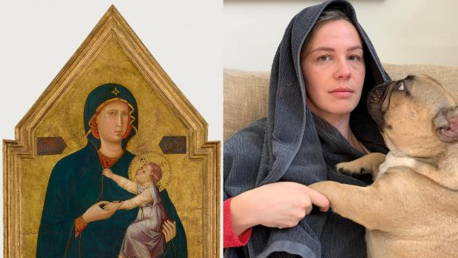 Una chica con su perro recreando La virgen y el niño del Maestro de Santa Cecilia.