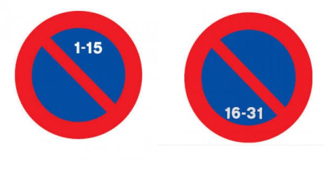 Señales de prohibido aparcar la primera y segunda quincena.