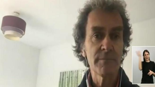 Videoconferencia del director del Centro de Coordinación de Alertas y Emergencias Sanitarias del Ministerio, Fernando Simón, tras dar positivo en coronavirus