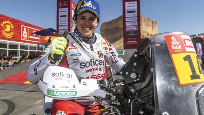 Laia Sanz, tras acabar el Dakar 2020.