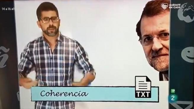 Momento del programa 'Aprendemos en casa' en el que se usa a Mariano Rajoy como ejemplo.