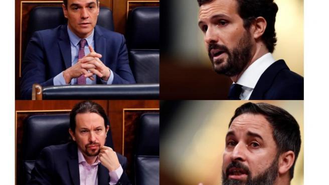 Montaje de fotos de los cuatro líderes políticos.