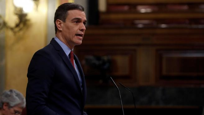 El presidente del Gobierno, Pedro Sánchez, durante su intervención en la sesión de control al ejecutivo celebrada este miércoles en el Congreso.