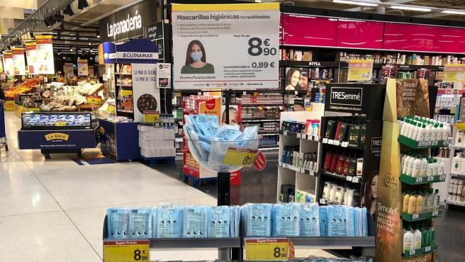 Mascarillas higiénicas en Carrefour
