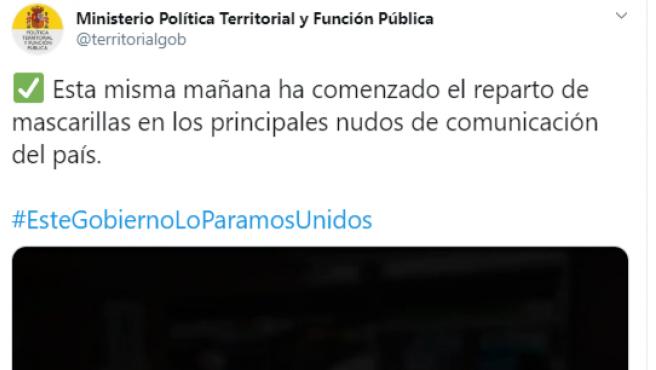 """El Ministerio de Política Territorial tuitea por error """"Este Gobierno lo paramos unidos""""."""