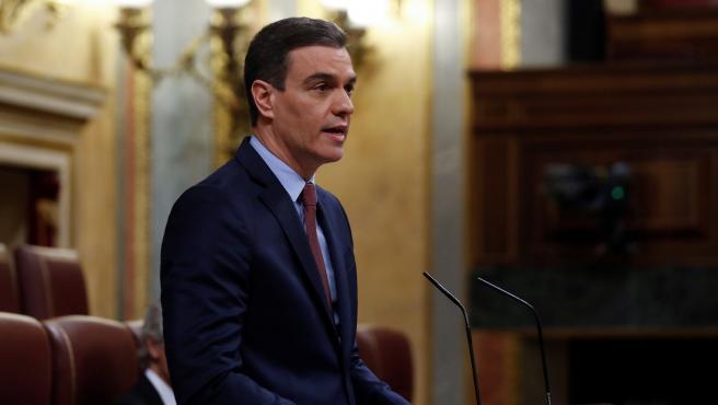El presidente del Gobierno, Pedro Sánchez durante su intervención en el pleno del Congreso