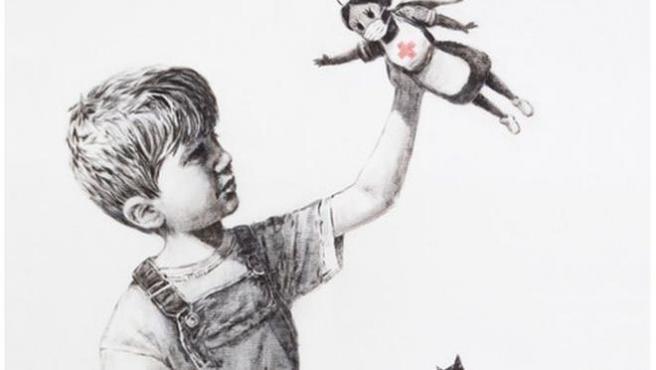 'Pintando para los santos', obra de Banksy.