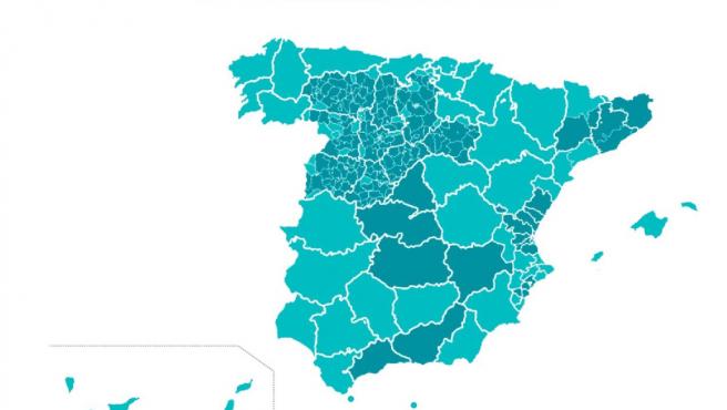 Mapa de las provincias que pasan a Fase 1 (azul claro) y las que no (azul oscuro)