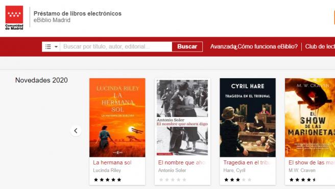 Página de entrada al servicio de préstamo de libros, audiolibros, prensa y películas de la Comunidad de Madrid.